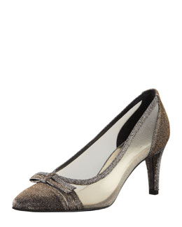 Stuart Weitzman Scenic Metallic Mesh Evening Shoe