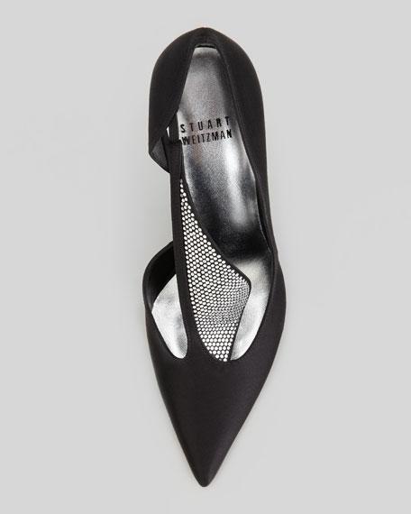Sail Crystal-Satin Evening Shoe, Black