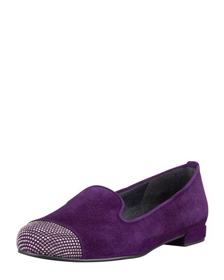 Lingo Suede Crystal-Toe Smoking Slipper, Hyacinth