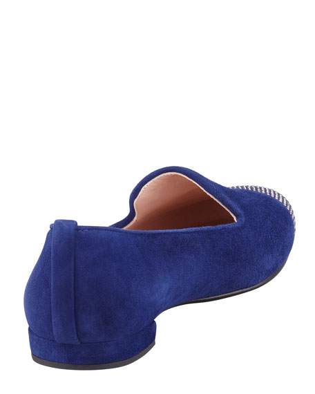 Lingo Suede Crystal-Toe Smoking Slipper, Sapphire