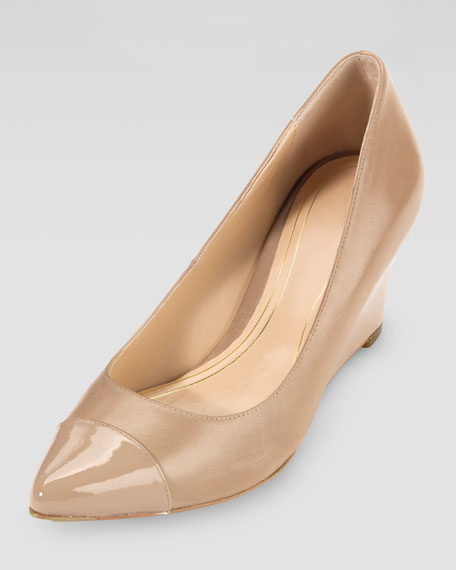 Chelsea Matte-Patent Pointy Toe Wedge, Sandstone