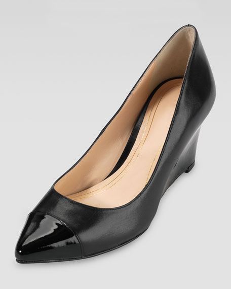 Chelsea Matte-Patent Pointy Toe Wedge, Black