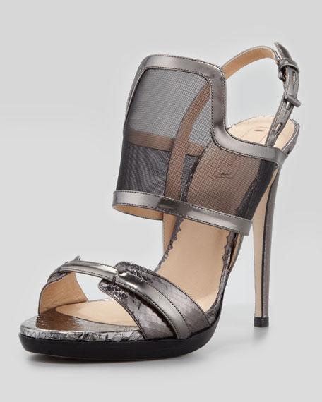 Solar Metallic Snake & Mesh Sandal