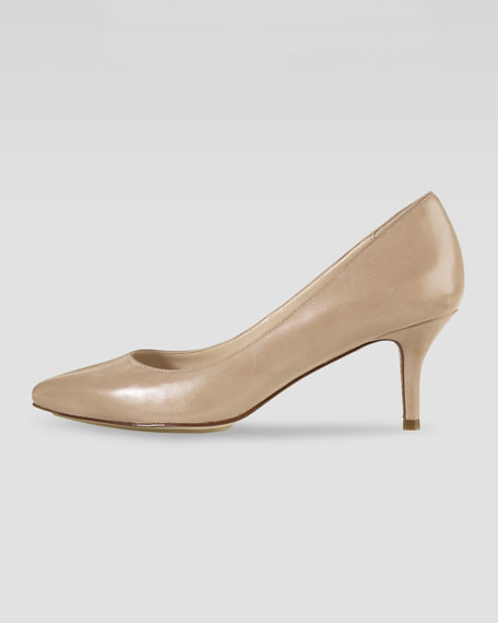 Chelsea Patent Low-Heel Pump, Sandstone