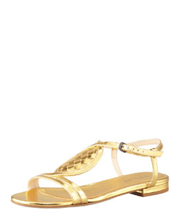 Bottega Veneta Metallic Woven Leather Thong Sandal, Gold