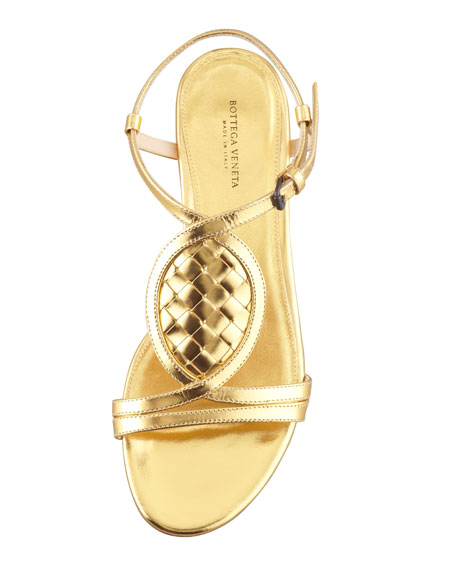 Metallic Woven Leather Thong Sandal, Gold