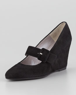 Aquatalia Sienna Suede Mary Jane Wedge
