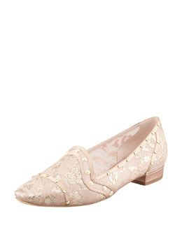 Rene Caovilla Crystal-Embellished Lace Loafer, Gold