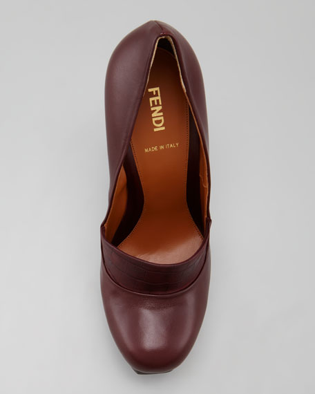 Fendista Leather Pump with Lizard-Embossed Vamp
