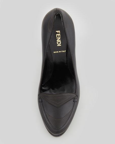 Austen Embossed-Heel Oxford Pump, Black