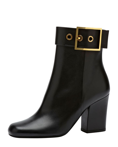 Side Buckle Leather Ankle Boot, Black