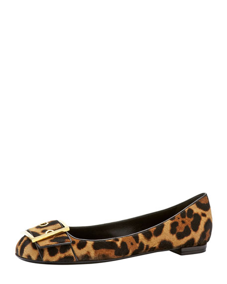Leopard-Print Calf Hair Buckle Flat