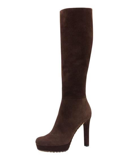 Anouk High-Heel Suede Boot, Dark Brown