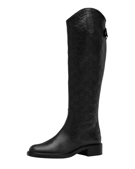 Maud Leather Guccissima Riding Boot, Black