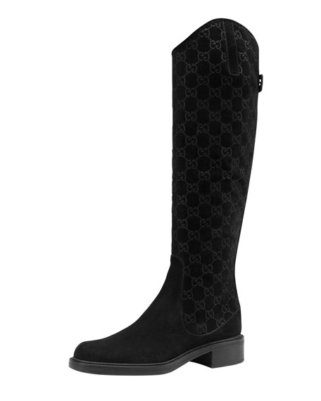 Maud Suede Guccissima Riding Boot, Black