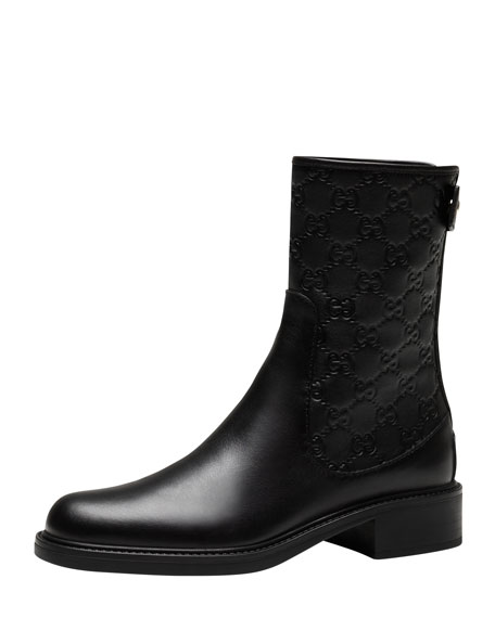 Maud Leather Guccissima Ankle Boot, Black