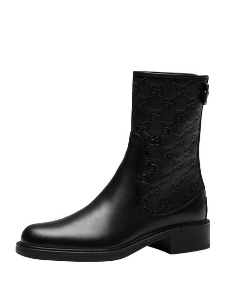 Gucci Maud Leather Guccissima Ankle