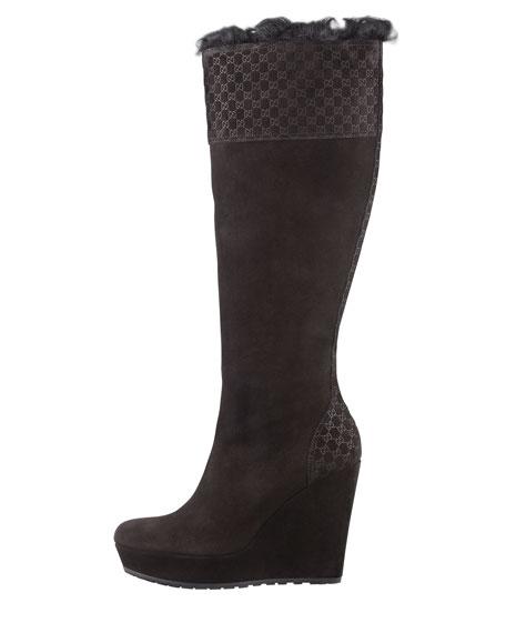 Courteney Fur Suede Wedge Boot, Black