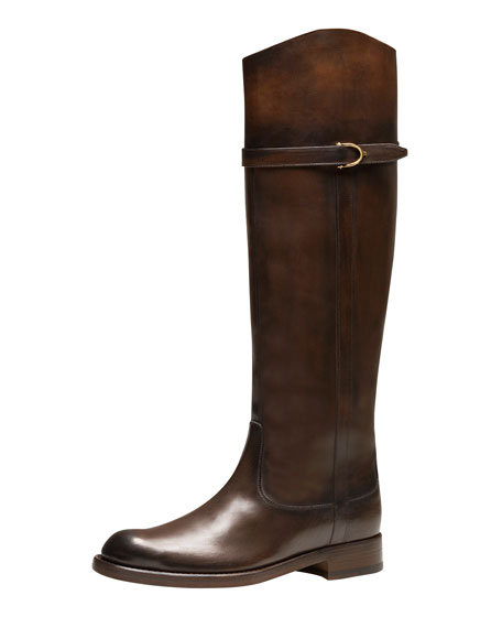 Eleonora Leather Riding Boot, Dark Brown