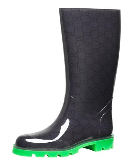 Gucci Flat Neon-Sole Rain Boot, Green
