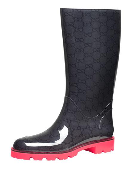 Gucci Flat Neon-Sole Rain Boot, Pink