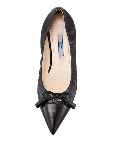 Leather Tassel Pointed-Toe Ballet Flat