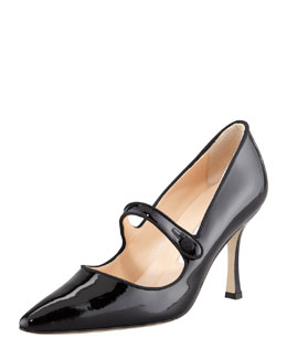 Manolo Blahnik Campari Patent Leather Mary Jane, Black