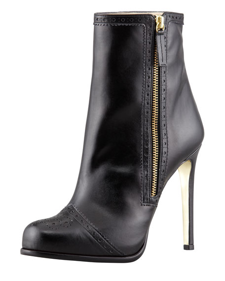 Faux-Leather Wing-Tip Ankle Boot