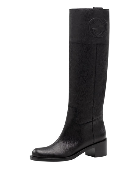 Soho Pebbled Leather Riding Boot, Black