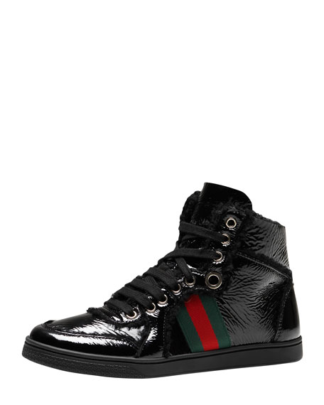 Gucci Fur-Trim High-Top Sneaker, Black
