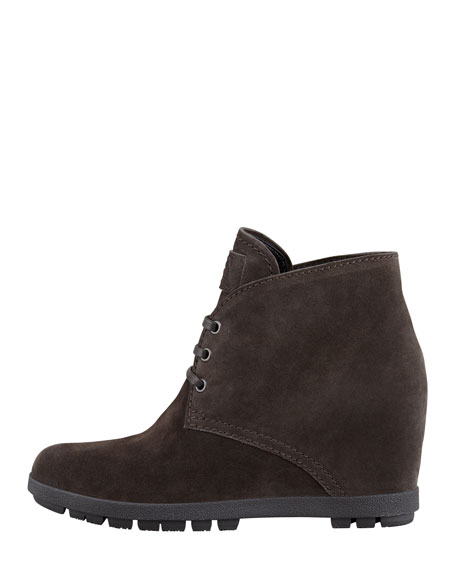 Lace-Up Wedge Bootie, Charcoal