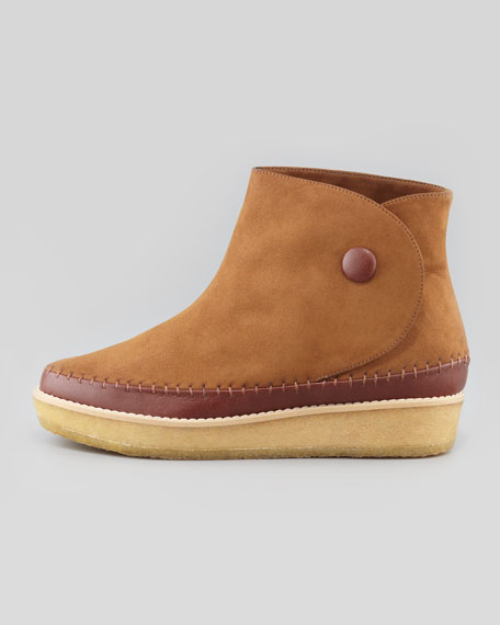 Side Button Moccasin Ankle Boot, Praline