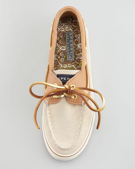 Bahama Sparkly Suede Boat Shoe, Natural/Cognac