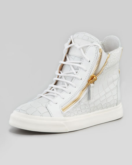 Croc-Embossed Low Top Sneaker, White