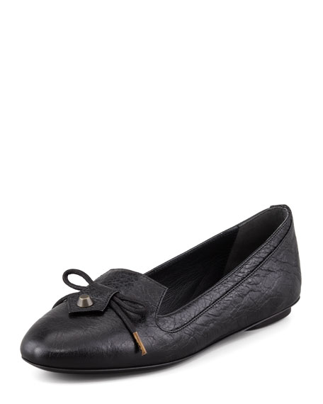 Arena Leather Smoking Slipper, Black