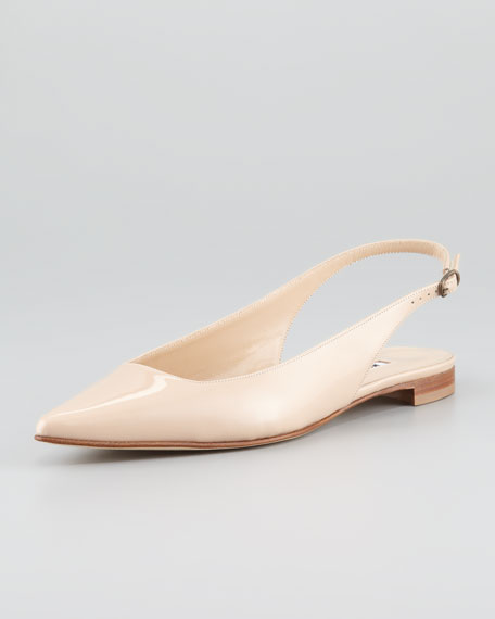 Lestina Patent Point-Toe Slingback Flat