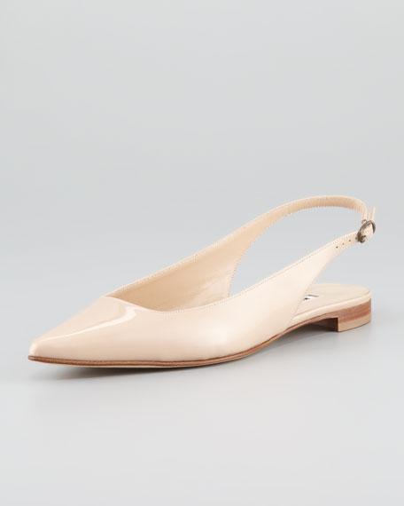 Lestina Patent Point-Toe Slingback Flat
