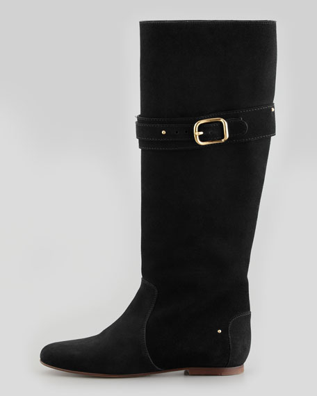 Paddington Suede Flat Knee Boot