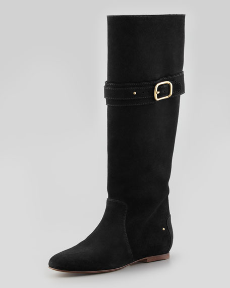 Chloe Paddington Suede Flat Knee Boot