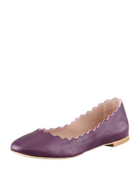 Scalloped Leather Ballerina Flat, Purple Pansy