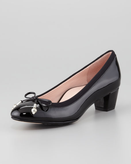 Fairlawn Patent Leather Bow Pump, Black