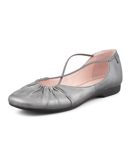 Bryan Ruched Crisscross Ballerina Flat, Pewter