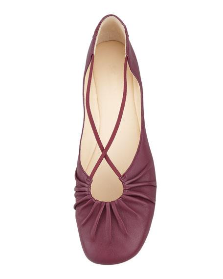 Bryan Ruched Crisscross Ballerina Flat, Port Wine
