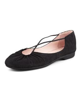 Taryn Rose Bryan Ruched Suede Crisscross Ballerina Flat, Black