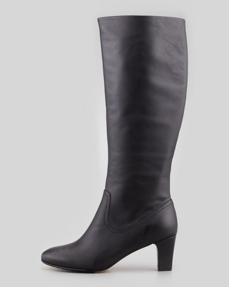 Dodie Leather Knee Boot, Black