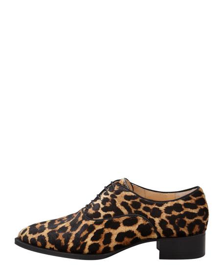 Zazou Pointed-Toe Leopard-Print Calf Hair Derby Flat