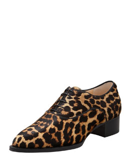 Christian Louboutin Zazou Pointed-Toe Leopard-Print Calf Hair Derby Flat