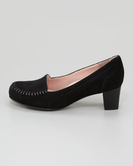 Joy Topstitched Low-Heel Loafer, Black