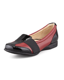 Taryn Rose Taurus Flat Slip-On Sport Loafer, Red
