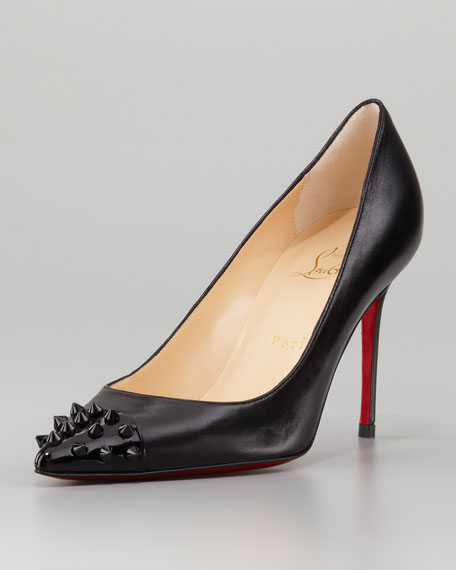 Christian Louboutin Geo Spike Point-Toe Red Sole Pump, Black